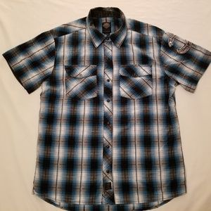 Harley Davidson Blue & Black button Up  Shirt